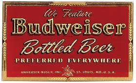Anheuser-Busch embossed glass window