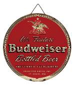 Anheuser-Busch embossed glass advertising window