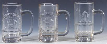 Three Pre-Prohibition embossed beer glass mugs