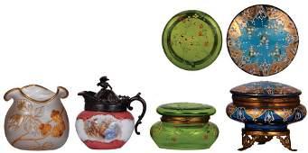 Four Victorian glass powder jars, pitcher & vase
