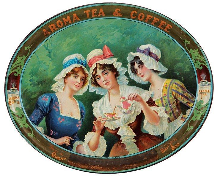 Aroma Tea & Coffee advertising tray