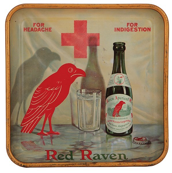 Red Raven Aperient Water advertising tray