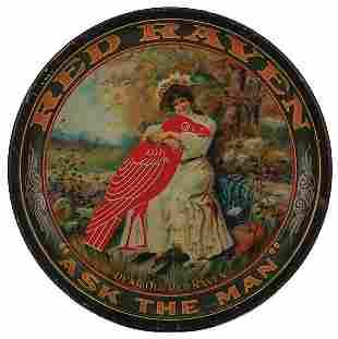 Red Raven Ask the Man advertising tray