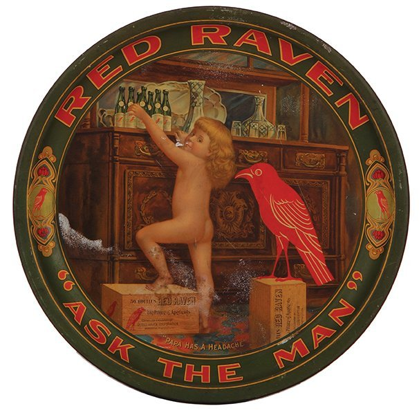 Red Raven Aperients advertising tray