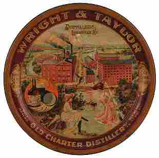 Wright & Taylor Old Charter advertising tray