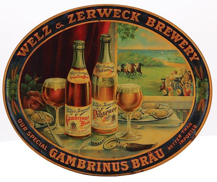 Welz & Zerweck Brewery advertising tray