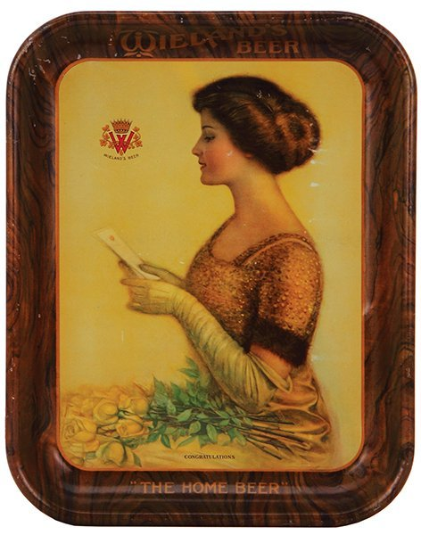 Wieland's Beer Congratulations advertising tray