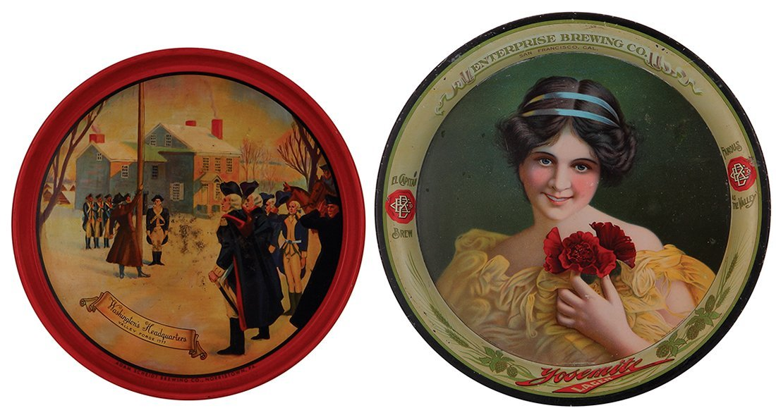 Two advertising trays, Valley Forge Beer  …