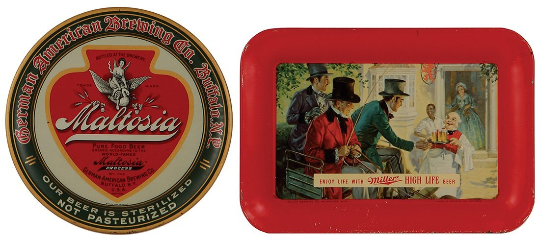 Two advertising trays, Miller High Life …