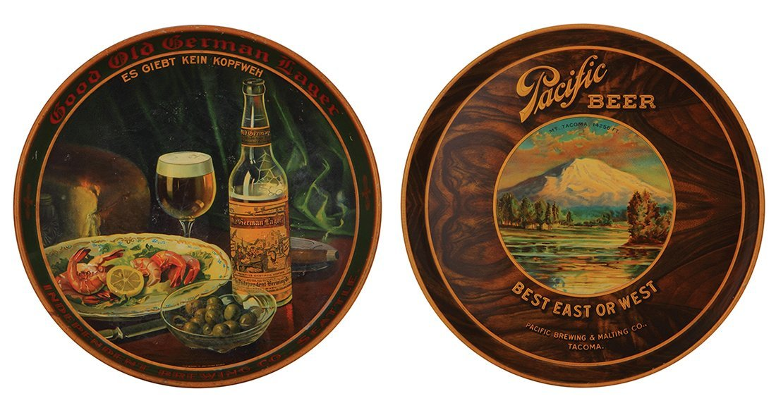 Two advertising trays Seattle & Pacific Beer …