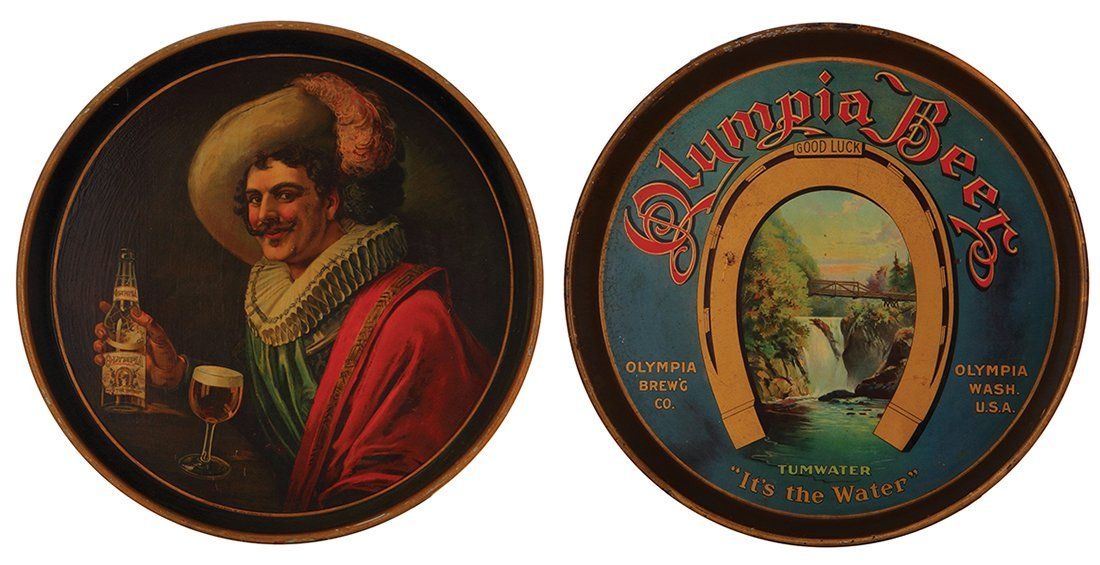 Two advertising trays, Olympia …