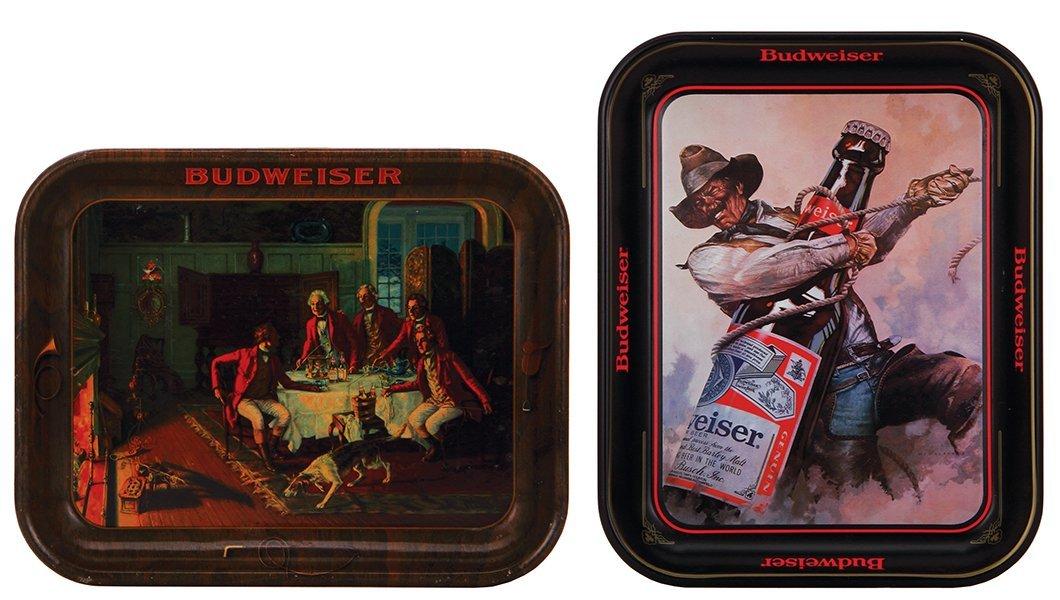 Two Anheuser-Busch Budweiser advertising trays
