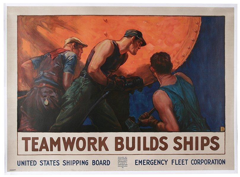 WW I Poster, Teamwork Builds Ships