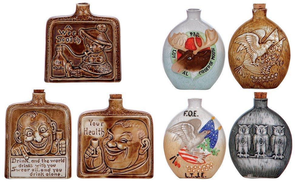 Seven porcelain flasks,  by Schäfer & Vater