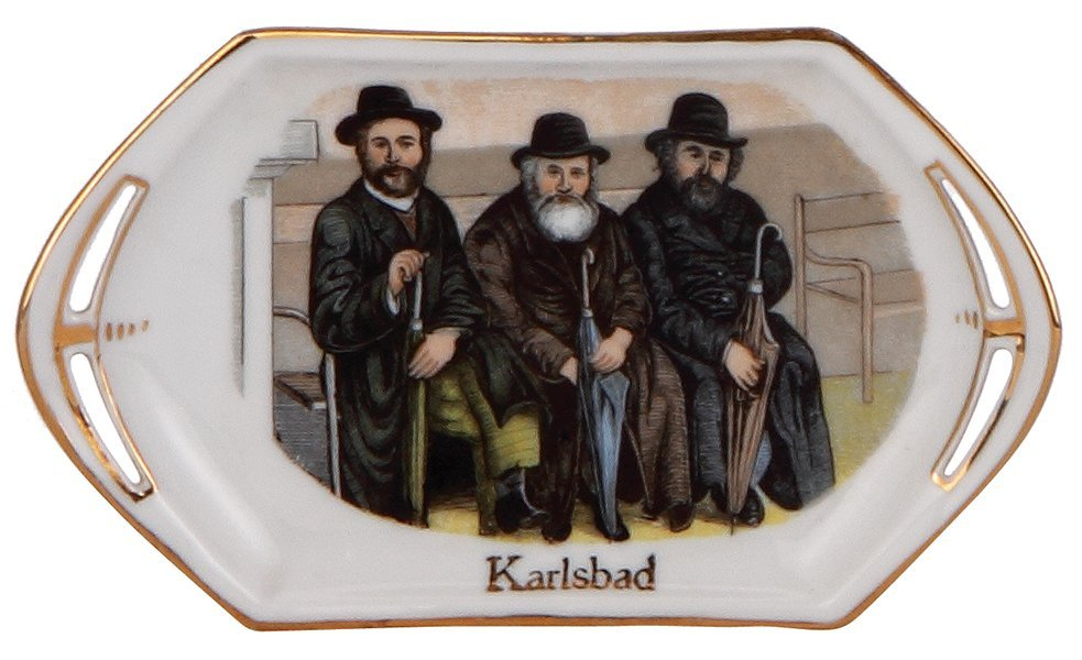 Porcelain tray, Judaica scene with three men