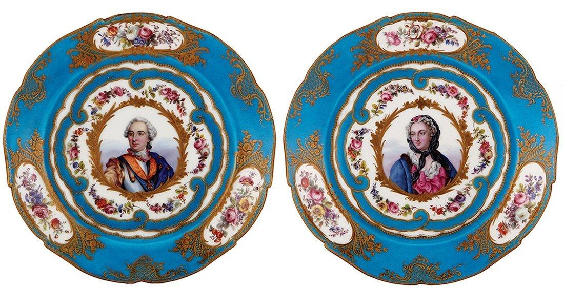 Four Sevres porcelain plates, Louis XV.