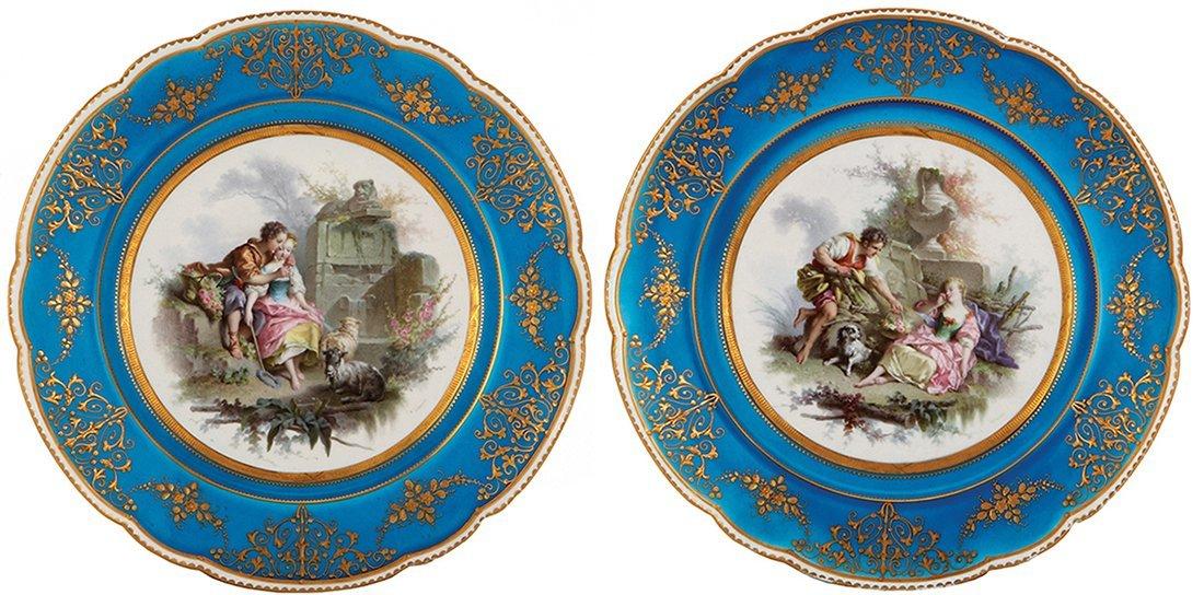 Four Sevres porcelain plates, Louis XV. - 2
