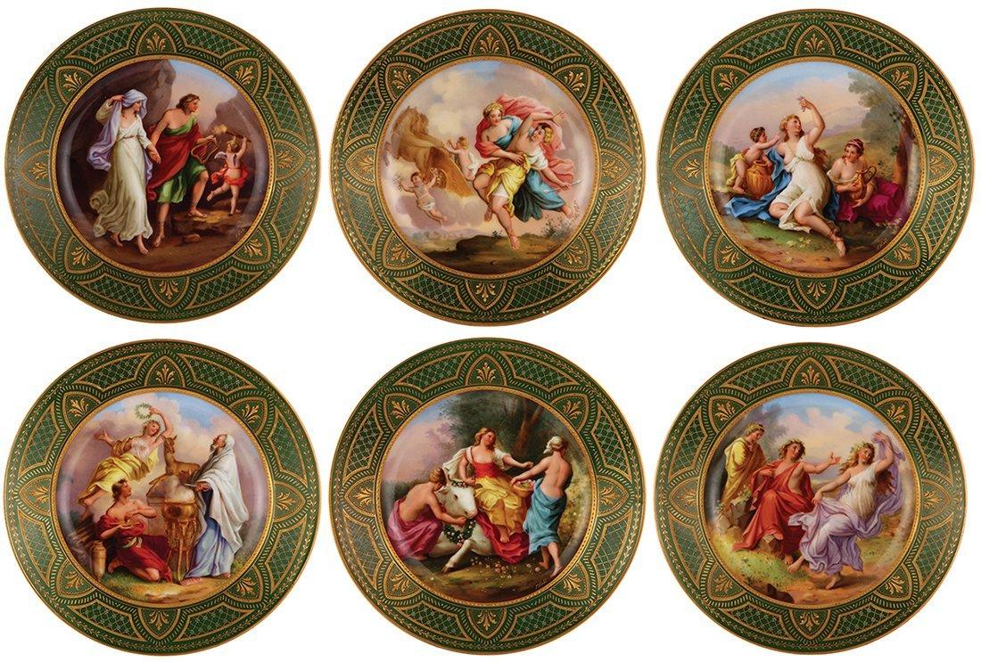 Six Royal Vienna porcelain plates