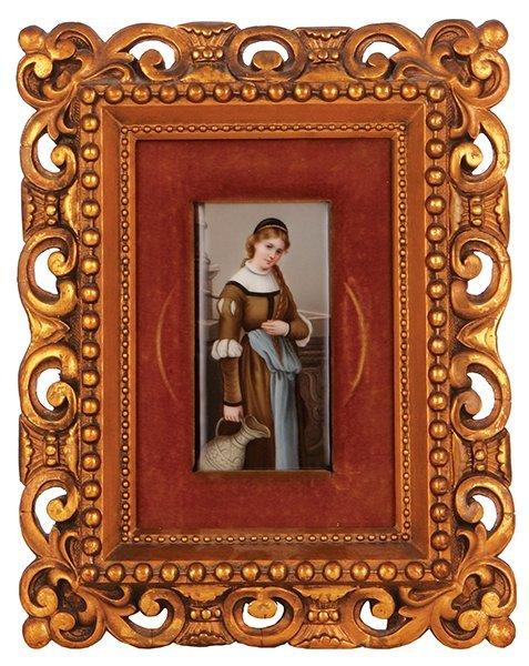 Porcelain plaque, young woman