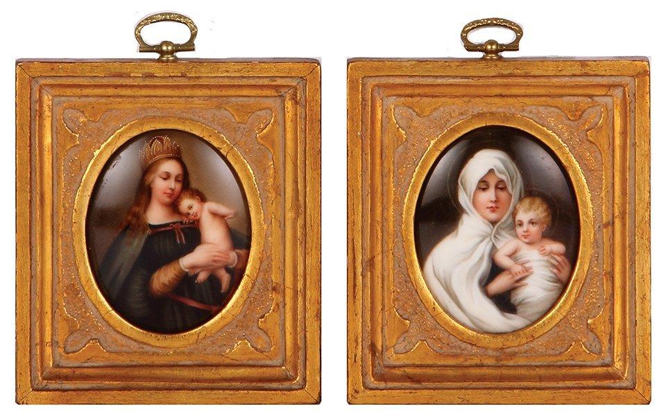 Pair porcelain plaques, Madonnas