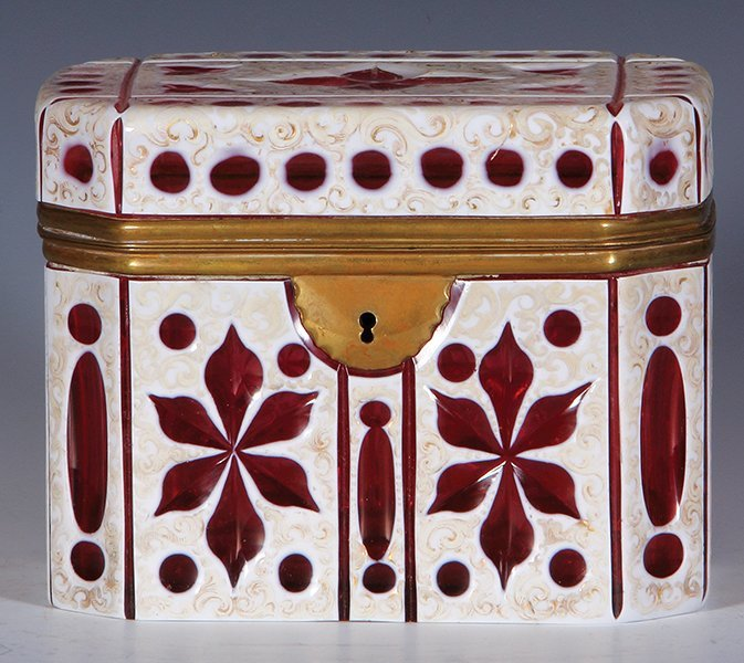 Glass jewelry box, white on ruby overlay