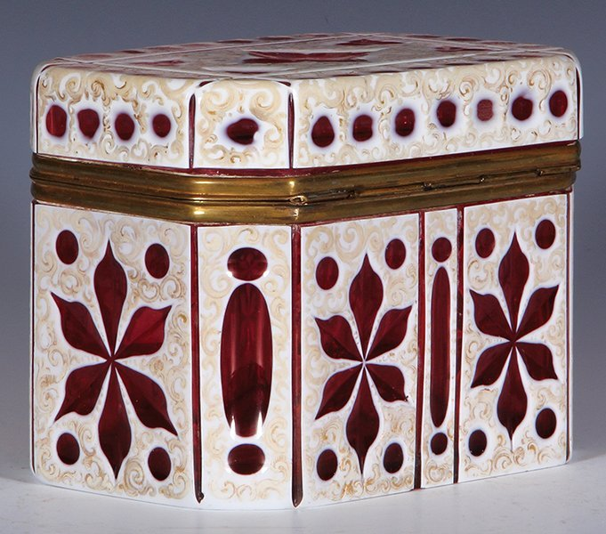 Glass jewelry box, white on ruby overlay - 2