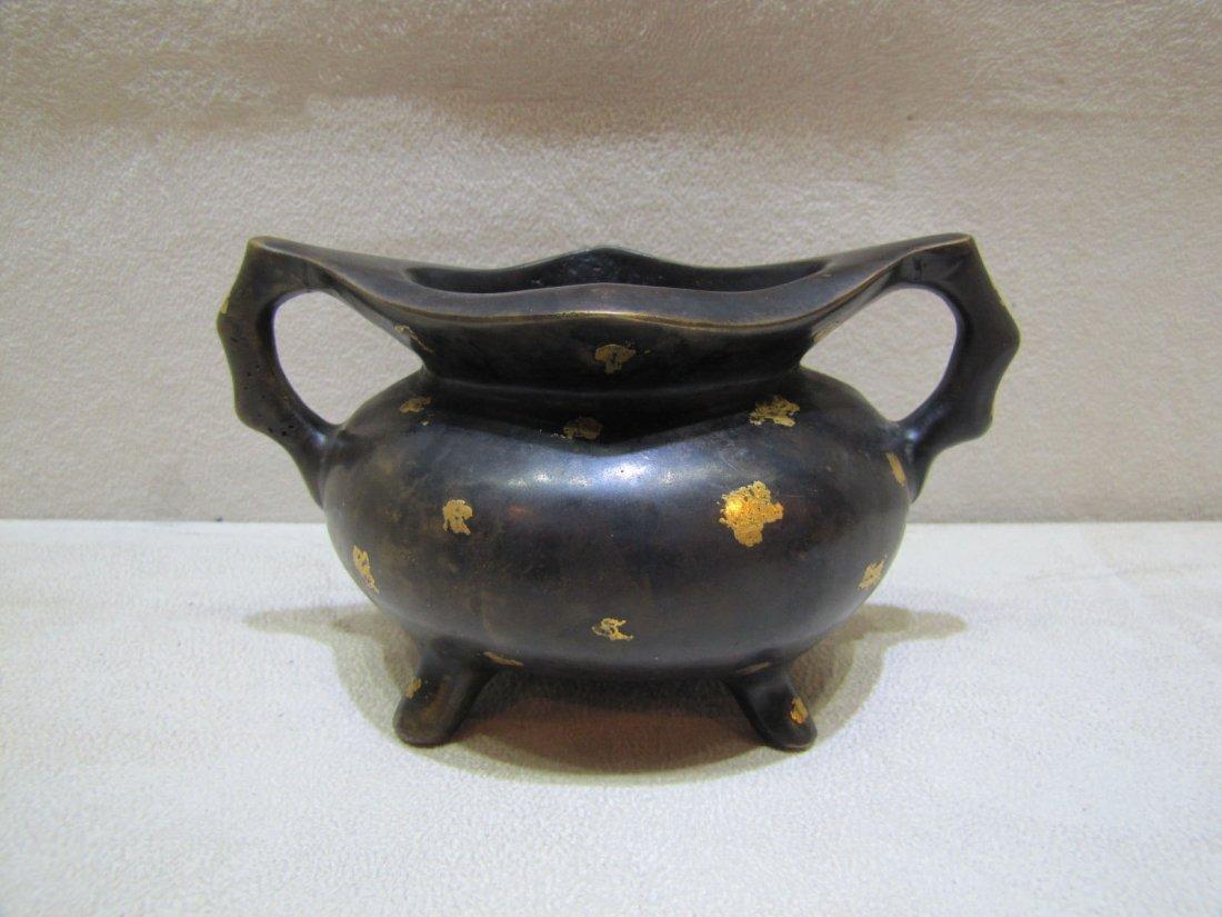 A Chinese Gilt-Splashed Bronze Censer