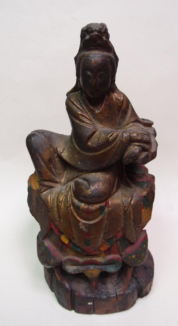 A Finely Carved Wood Guanyin