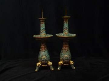 A Pair of Cloisonne Enamel Candlestick