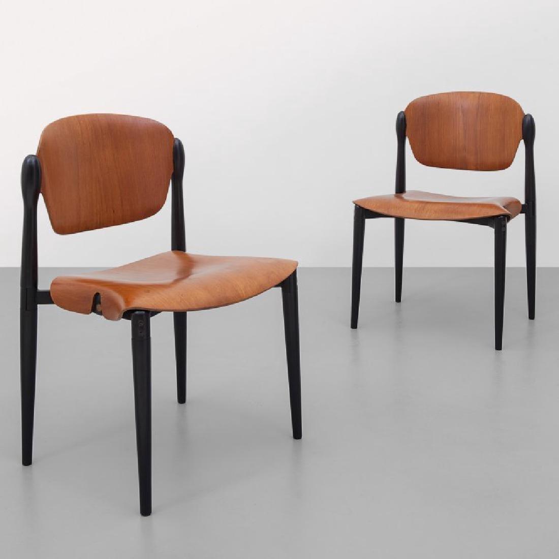 """EUGENIO GERLI Due sedie impilabili """"S83"""" per"""