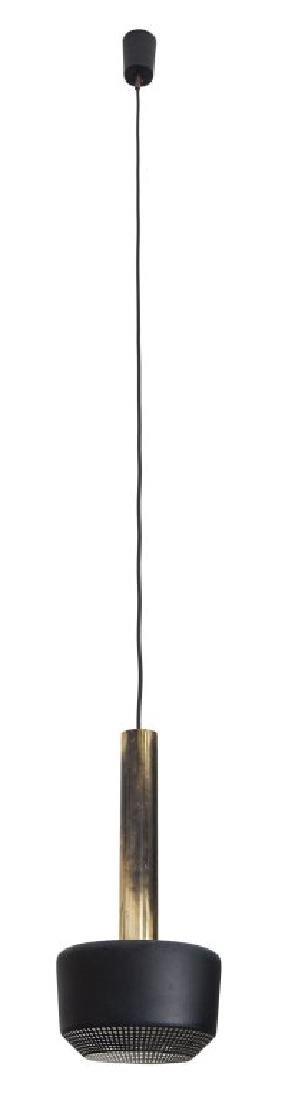 TRE LAMPADE A SOSPENSIONE, anni '60.  Ottone,
