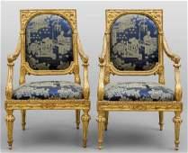 Eccezionale gruppo di sei poltrone Luigi XVI in