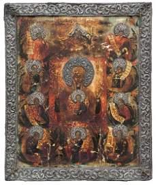 Icona con bordo in argento raffigurante Madonna