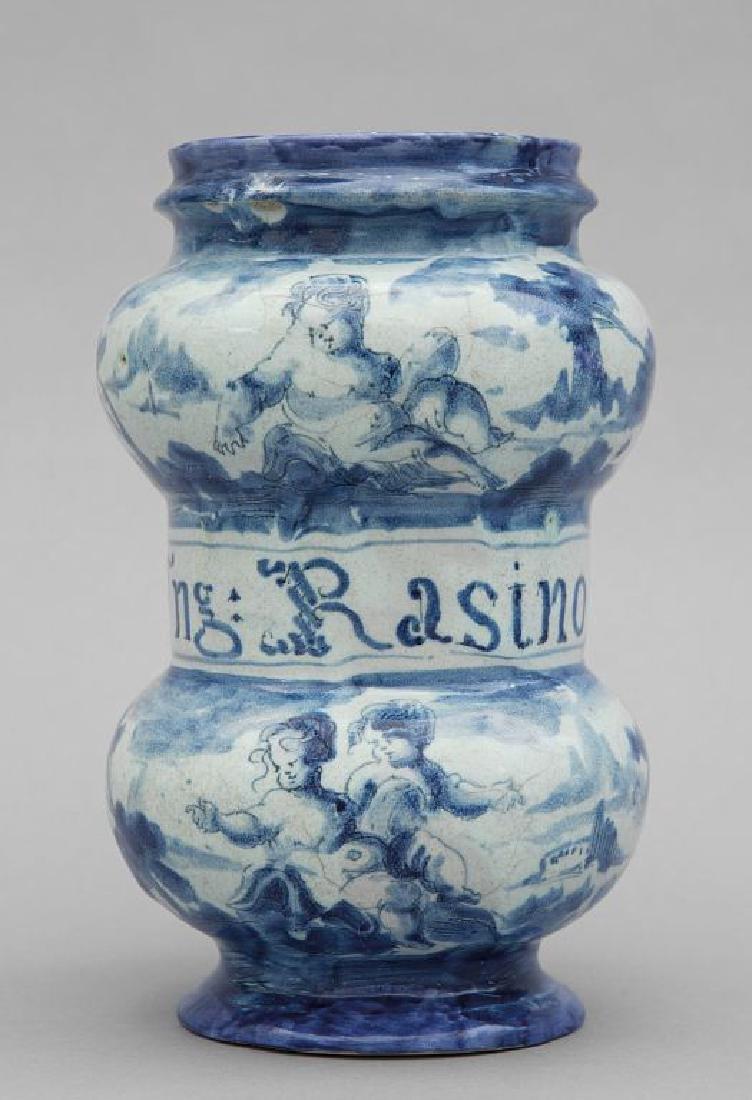 Albarello in ceramica bianca e blu, marca