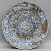 Grande piatto in porcellana pudrée bianco e blu