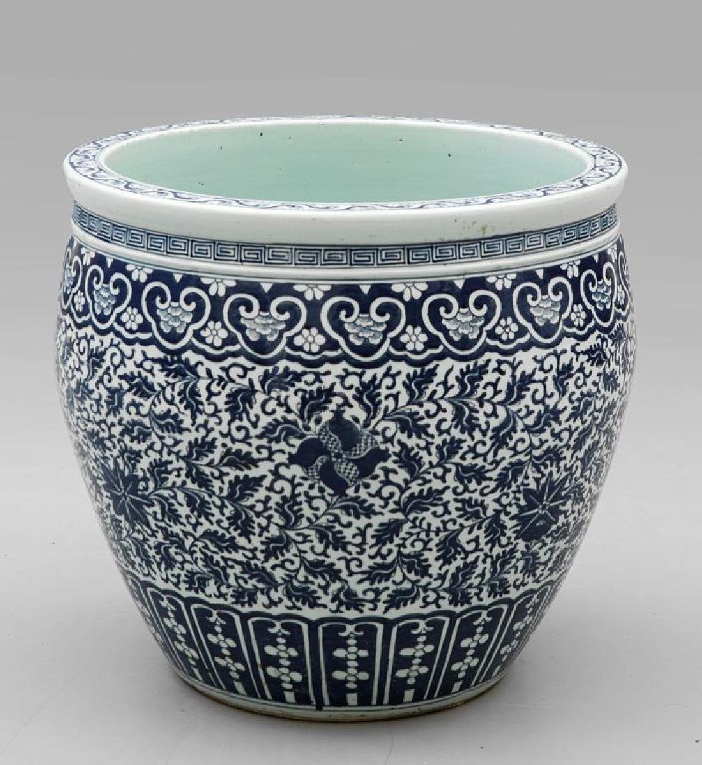 Cachepot in porcellana di Cina bianca e blu