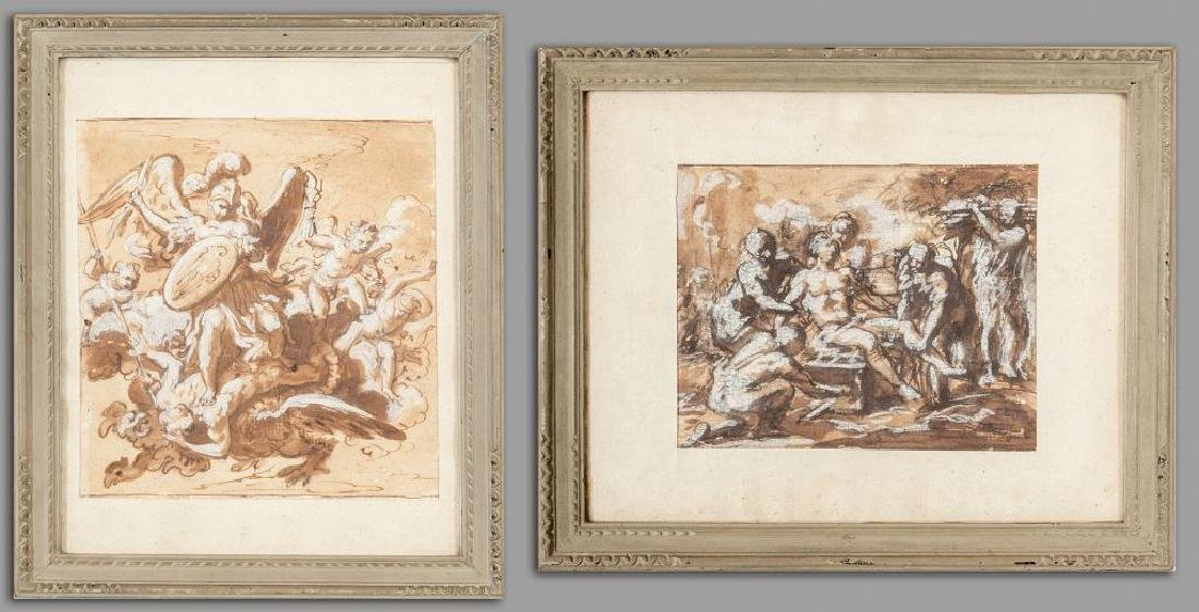 Scuola emiliana sec.XVII, due disegni a seppia e