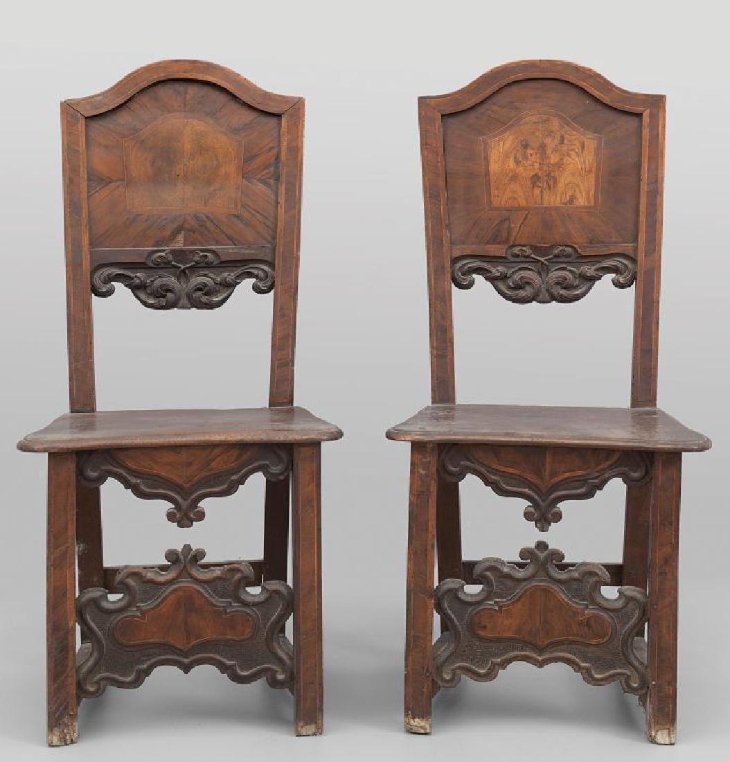 Coppia di sedie a cartella lastronate, Bergamo