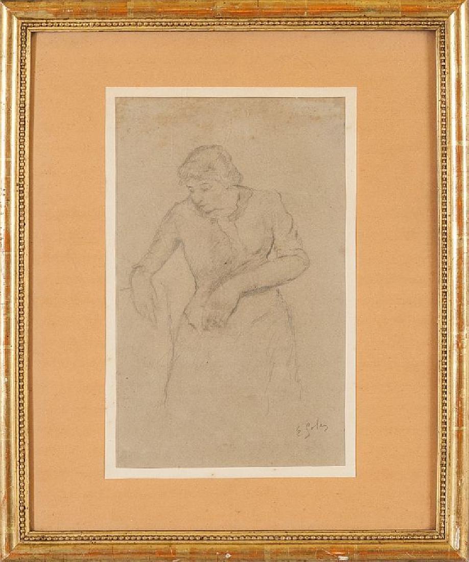 EMILIO GOLA (1851-1923)  Pensierosa disegno