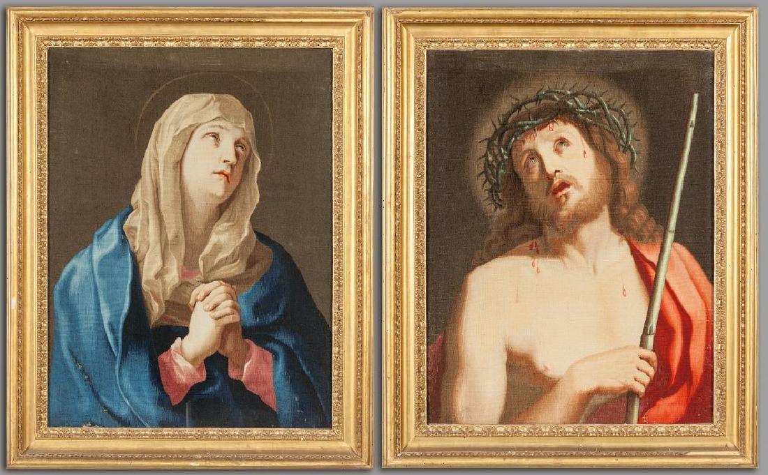 "Arte romana sec.XVII ""Gesù"" e ""Madonna"" coppia di"