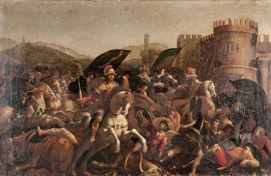 """""""Battaglia"""" olio sec.XVII cm. 124x77"""