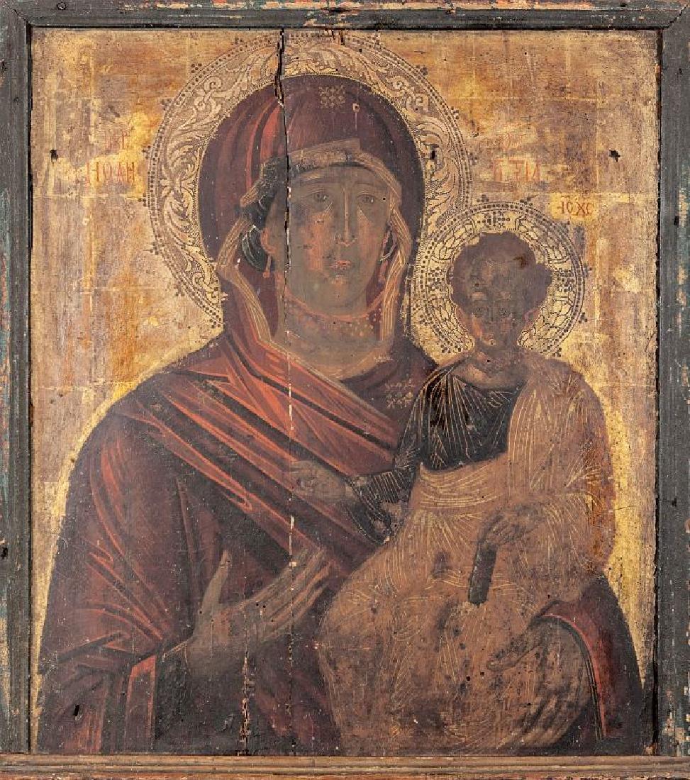 "Scuola Bizantina sec.XVIII ""Madonna con Bambino"""