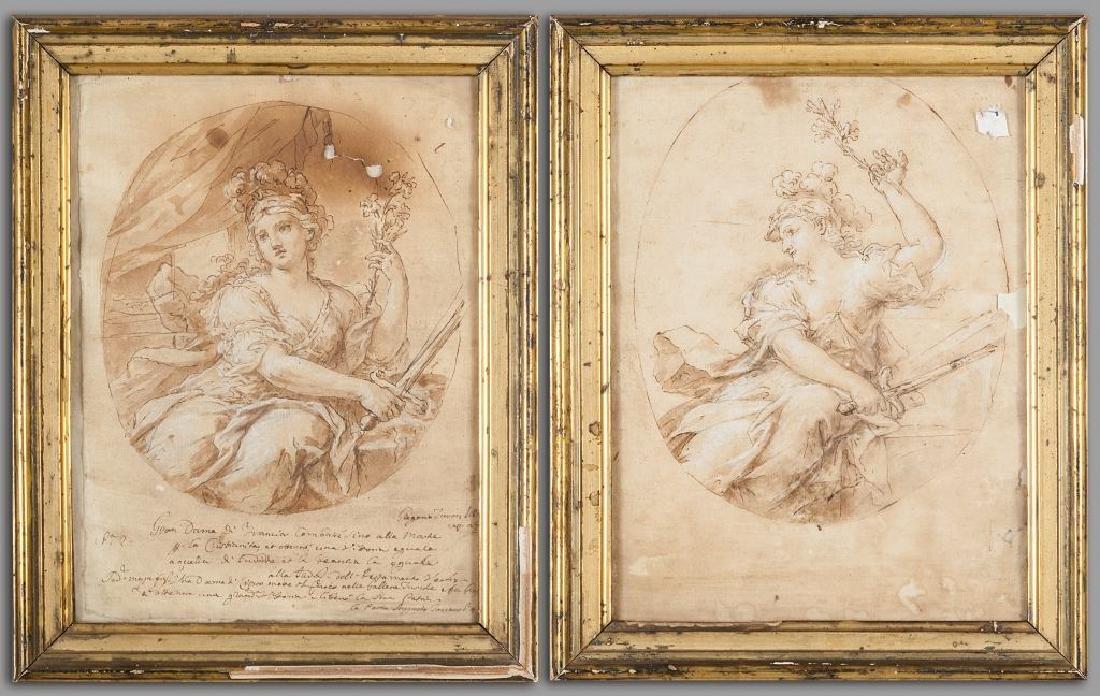 """""""Allegoria della Francia"""" coppia di disegni f.ti"""
