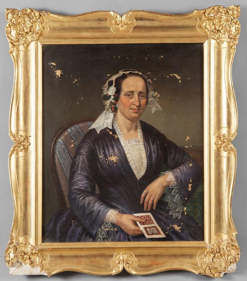 """""""Signora con carta da gioco"""" olio, sec.XIX cm."""