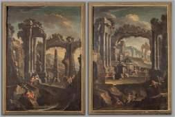 """Scuola emiliana sec.XVIII """"Architetture con"""