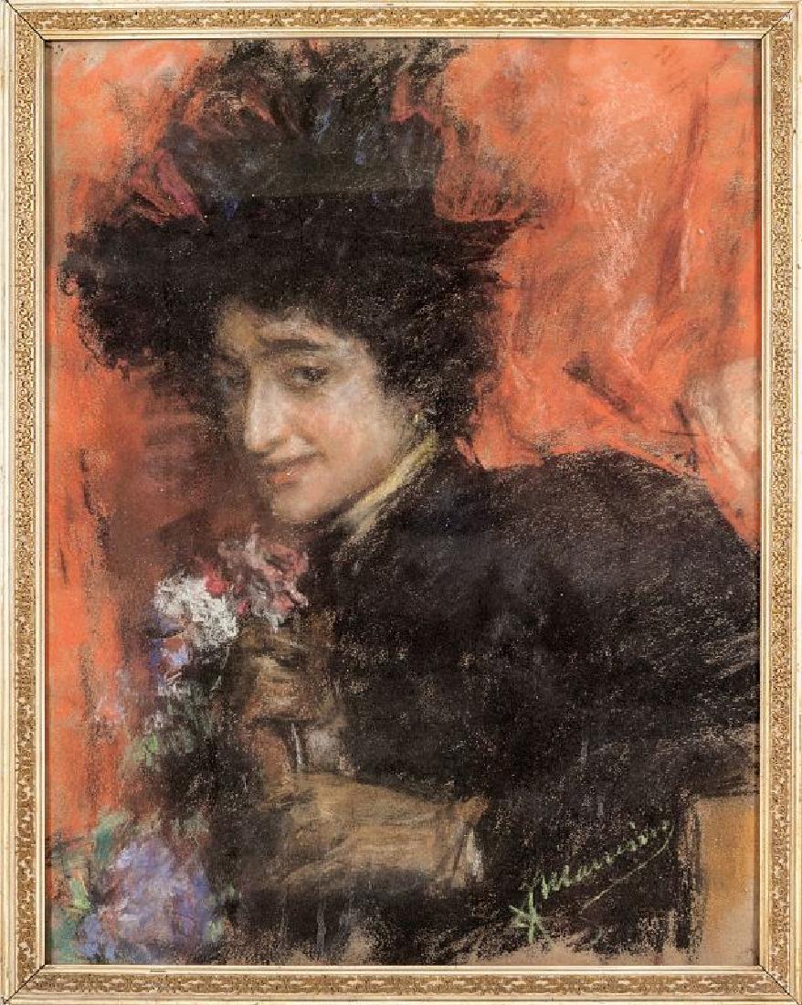 """FRANCESCO MANCINI (1830-1905)  """"Ritratto di"""