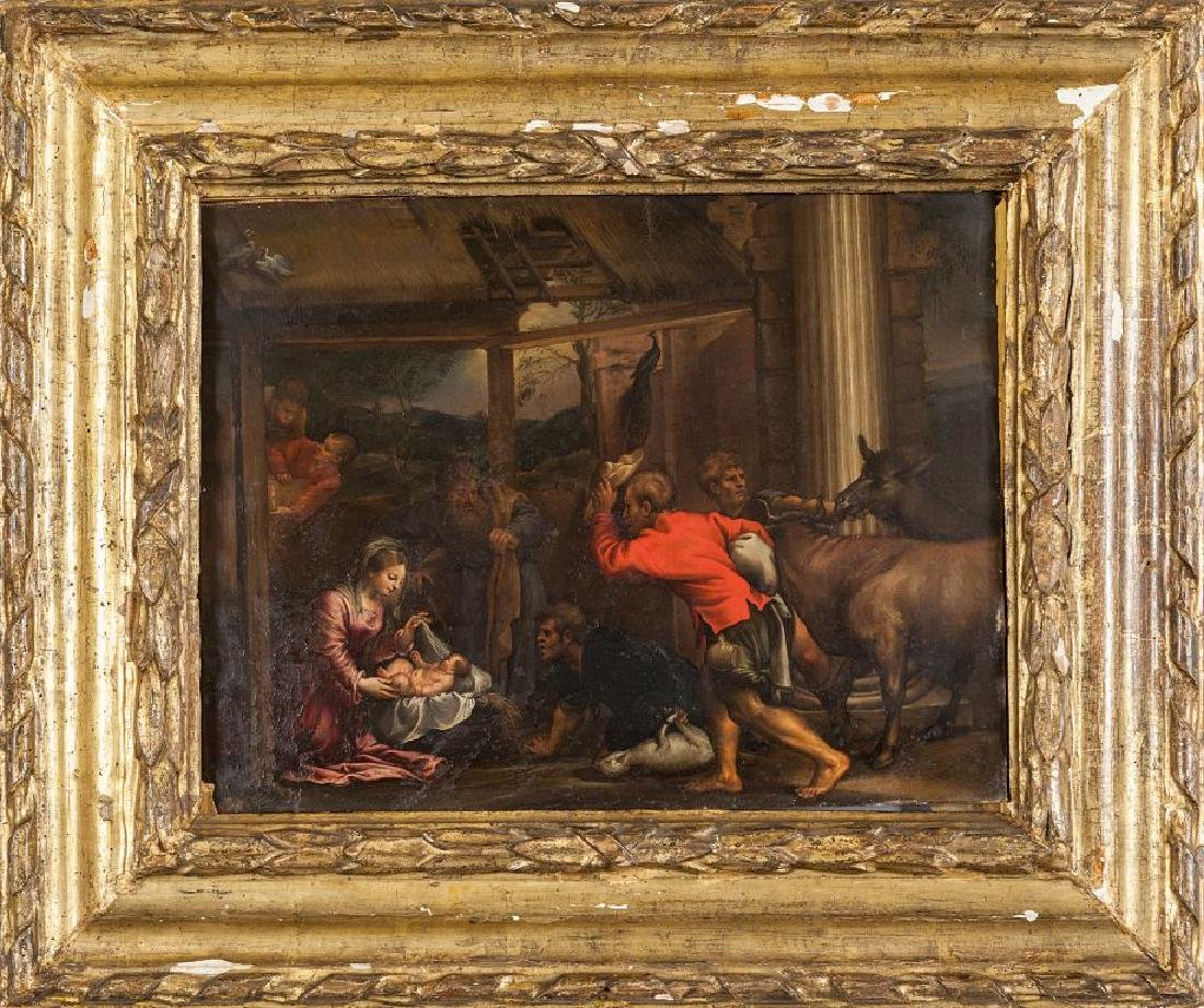 """Scuola veneta sec.XVII """"L'Adorazione dei pastori"""""""