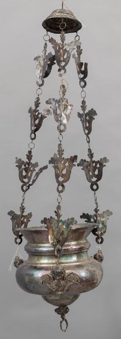 Lampada votiva in argento con antica iscrizione