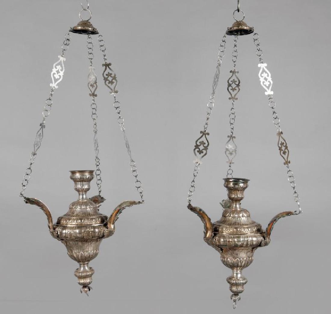 Coppia di lampade votive in argento, Punzone