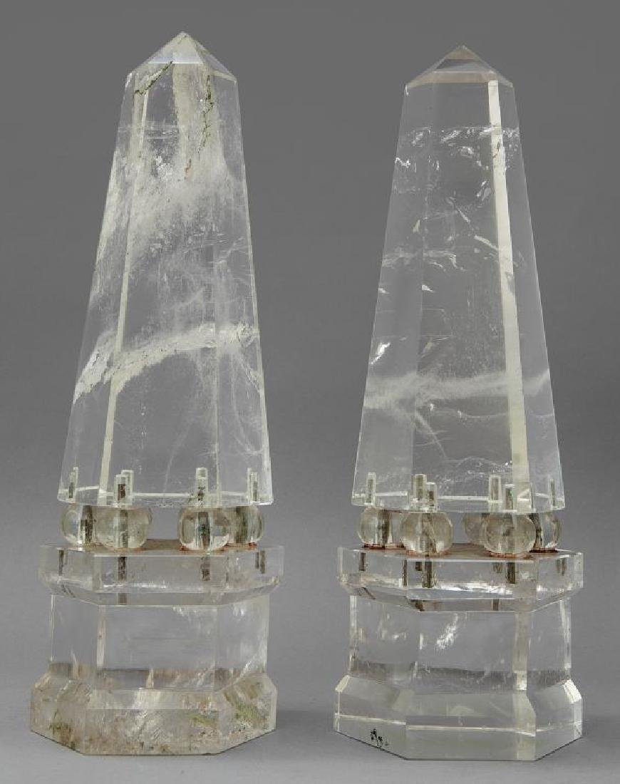 Coppia di obelischi in cristallo di rocca,